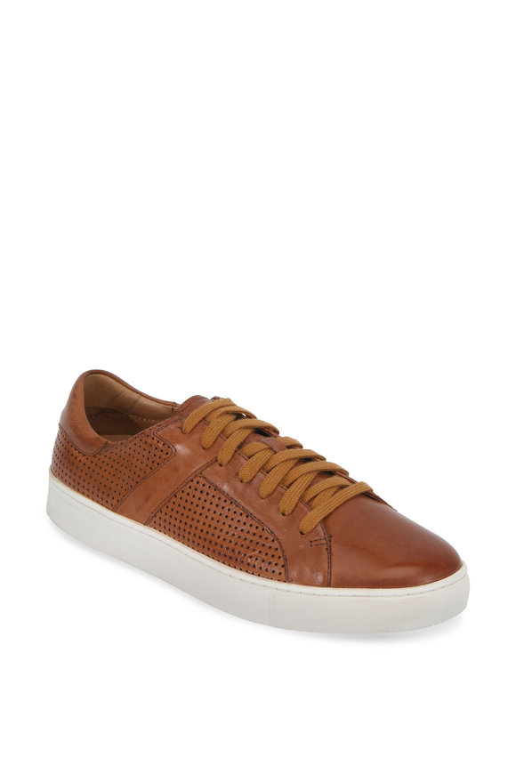 Trask Aaron Tan Perforated Leather Sneaker