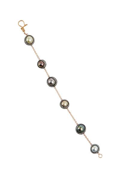 Todd Reed - Rose Gold Patina Tahitian Pearl Diamond Bracelet
