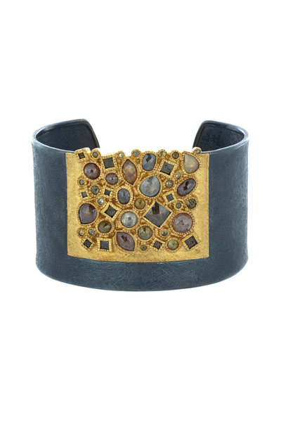 Todd Reed - Yellow Gold & Silver Fancy Diamond Cuff