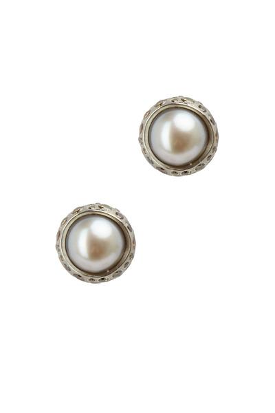 Todd Reed - Palladium Tahitian Pearl Diamond Earrings