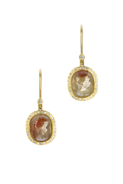 Todd Reed - 18K Yellow Gold Red & White Diamond Drop Earrings