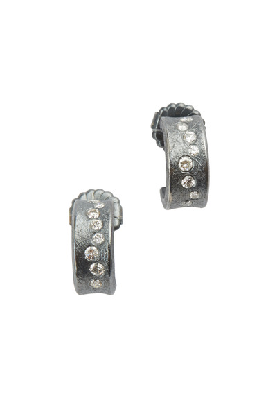 Todd Reed - Sterling Silver Patina Diamond Cuff Earrings