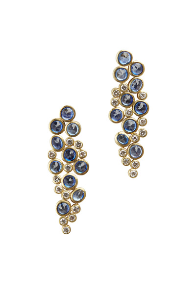 Todd Reed - White Gold Blue Sapphire Diamond Dangle Earrings