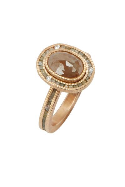 Todd Reed - Rose Gold Fancy & White Diamond Ring