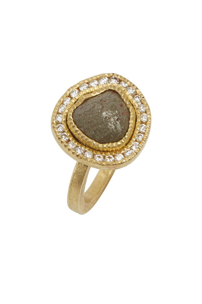 Todd Reed - Yellow Gold Raw & White Diamond Ring