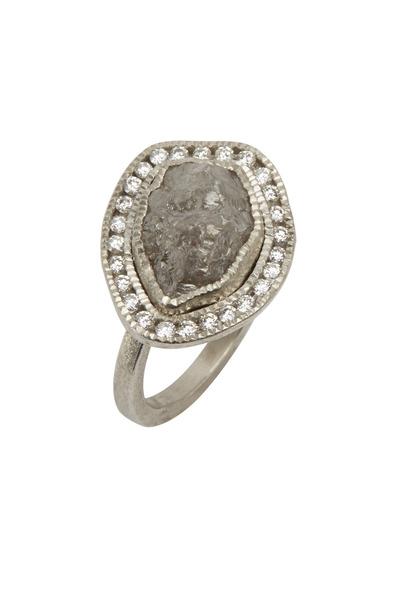 Todd Reed - Palladium Gray Rough & White Diamond Ring