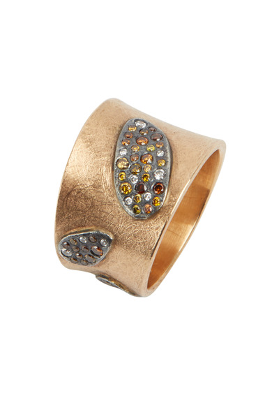 Todd Reed - 18K Rose Gold & Silver Autumn & White Diamond Band