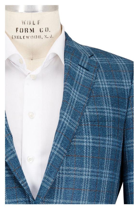 Hickey Freeman Blue & Green Wool, Silk, & Linen Plaid Sportcoat