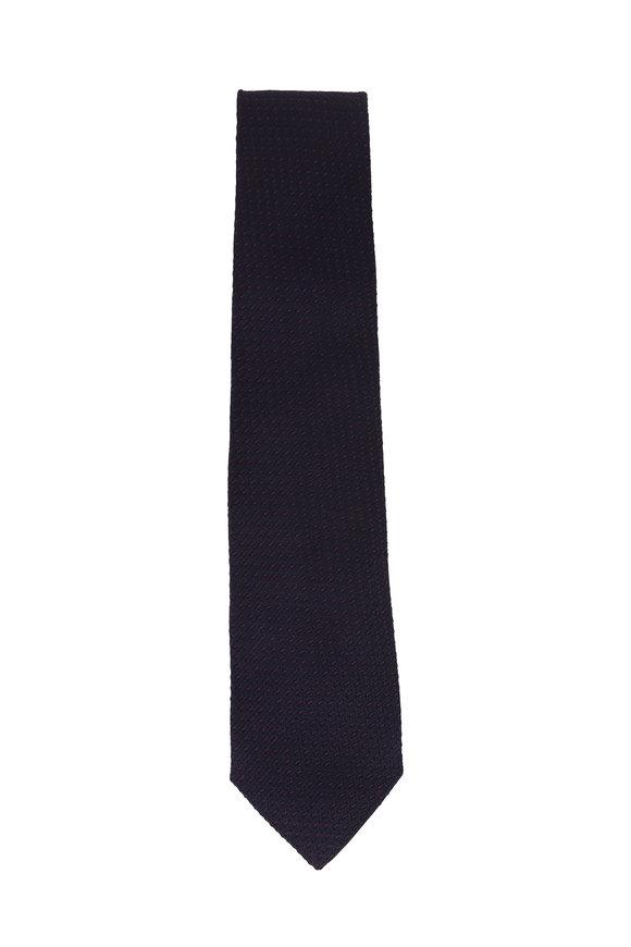 Isaia Navy Blue Textured Silk Necktie