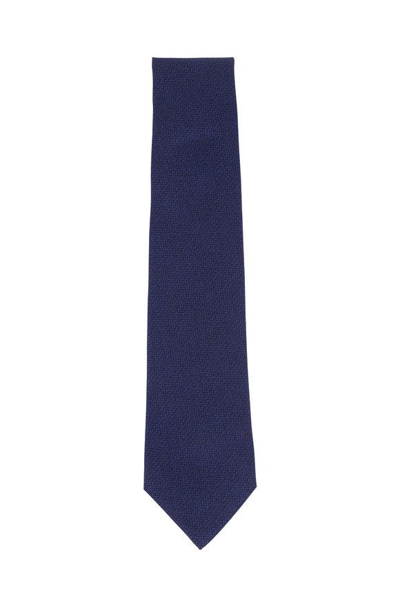 Isaia Blue Textured Silk & Cotton Necktie
