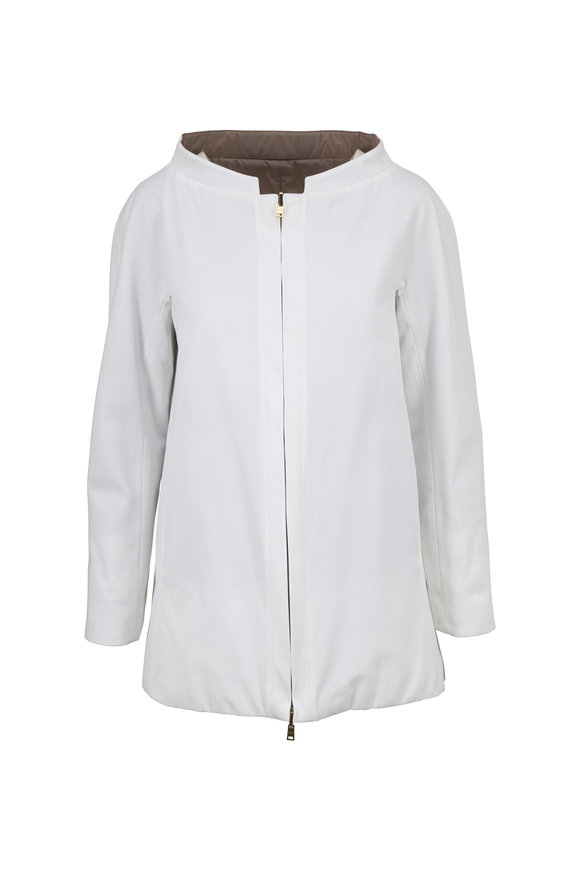 Herno White Fabric & Down Reversible Swing Coat