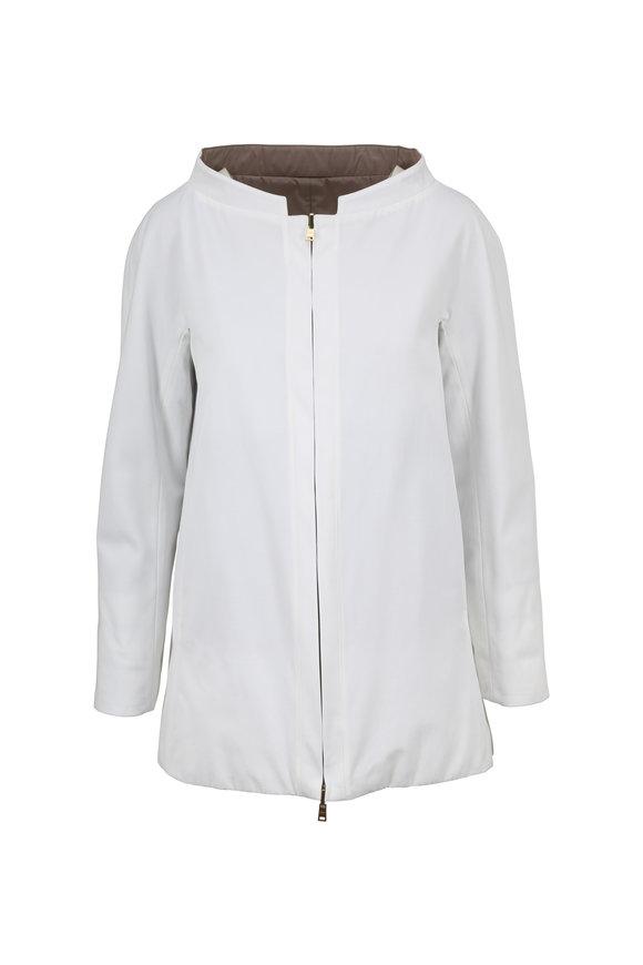 Herno White Fabric & Down Reversible Swing Coat