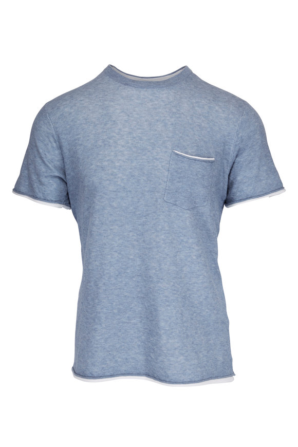 Rag & Bone Tripp Light Blue Cotton & Wool T-Shirt