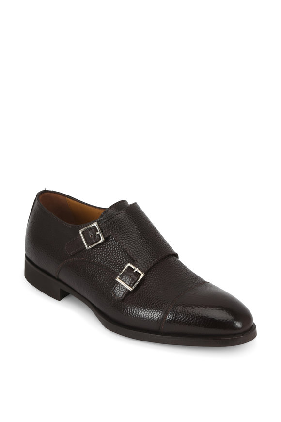 Di Bianco Dark Brown Grained Leather Double-Monk Shoe