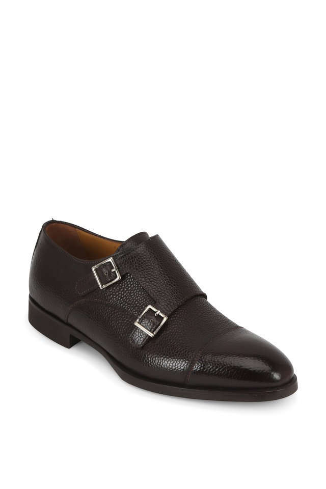 Dark Brown Grained Leather Double-Monk Shoe