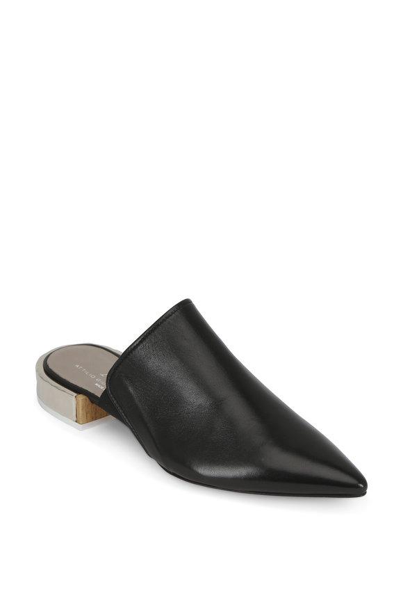AGL Black Leather Hammered Silver Heel Mule