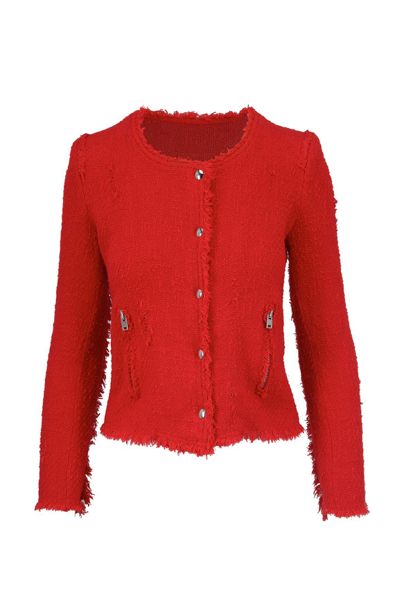 IRO Agenette Red Frayed Jacket