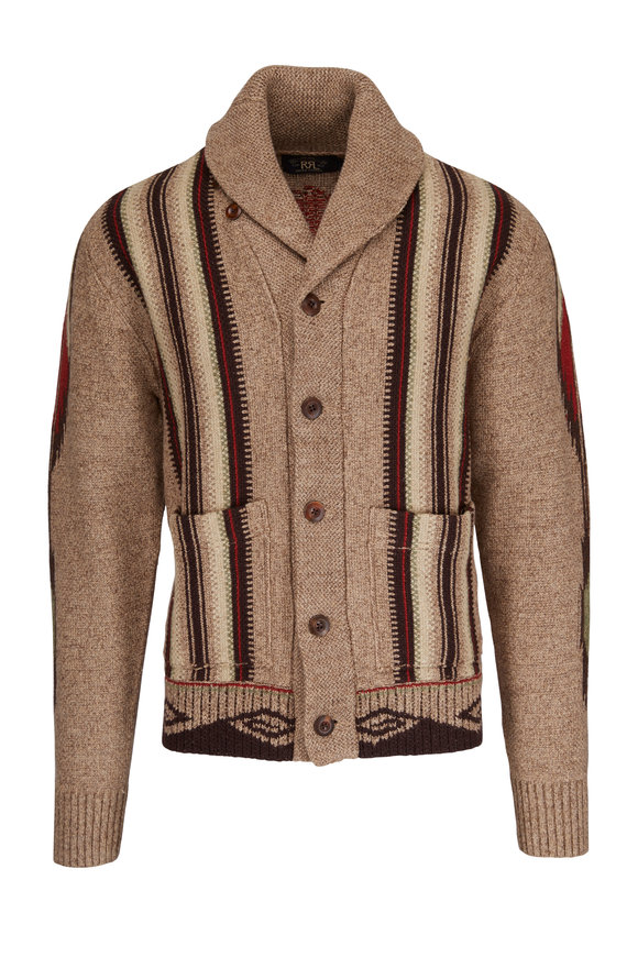 RRL Chimayo Brown & Multicolor Shawl Cardigan