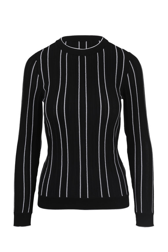 Derek Lam Black & White Striped Slim Pullover