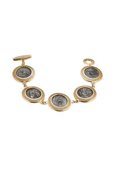 Ray Griffiths - 18K Yellow Gold Alexander the Great Coin Bracelet