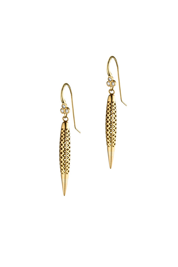 Ray Griffiths 18K Yellow Gold Spear Earrings