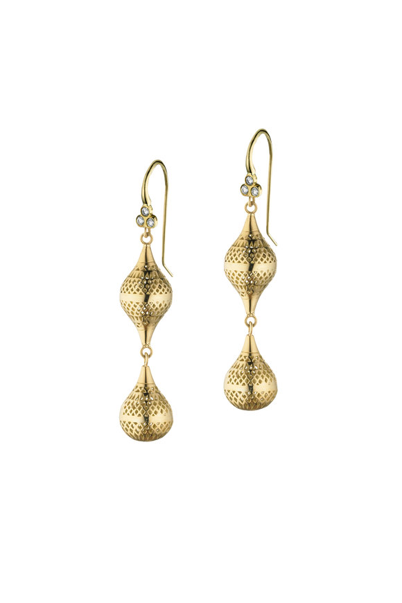 Ray Griffiths Yellow Gold Double Drop Earrings