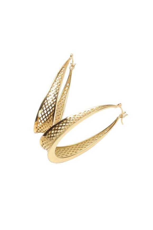 Ray Griffiths 18K Yellow Gold Oval Crownwork Hoop Earrings