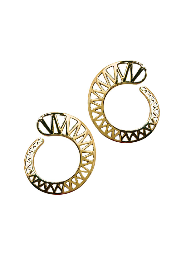 Ray Griffiths 18K Yellow Gold Spiral Knife Edge Earrings