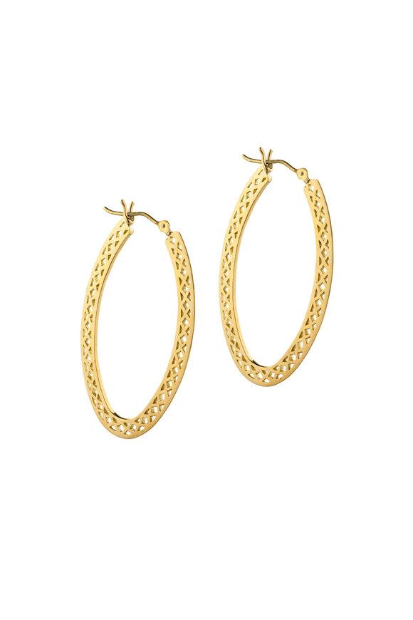 Ray Griffiths 18K Yellow Gold Elongated Crownwork Hoop Earrings