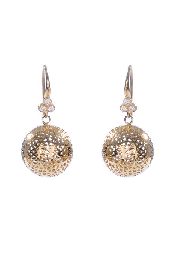 Ray Griffiths 18K Yellow Gold 15mm Triple Diamond Ball Earrings
