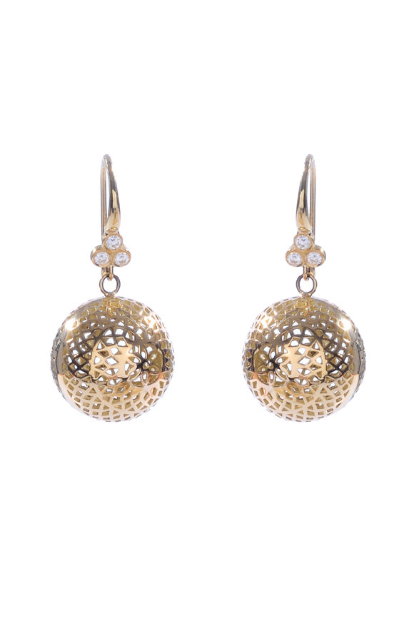 Ray Griffiths 18K Yellow Gold 15mm Triple Diamond Ball Earrings