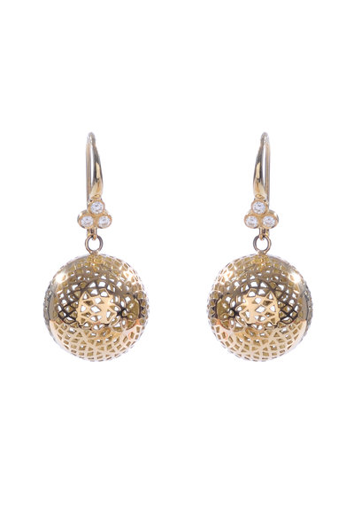 Ray Griffiths - 18K Yellow Gold 15mm Triple Diamond Ball Earrings