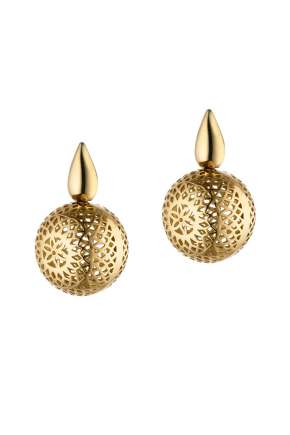 Ray Griffiths 18K Yellow Gold Crownwork Ball Earrings