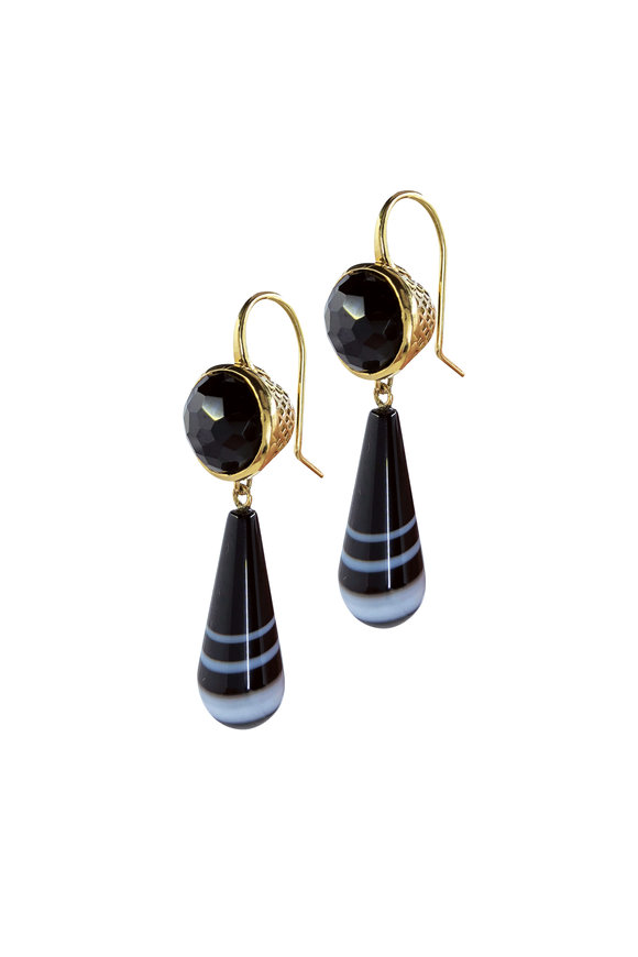 Ray Griffiths 18K Yellow Gold Black Spinel & Agate Drop Earrings