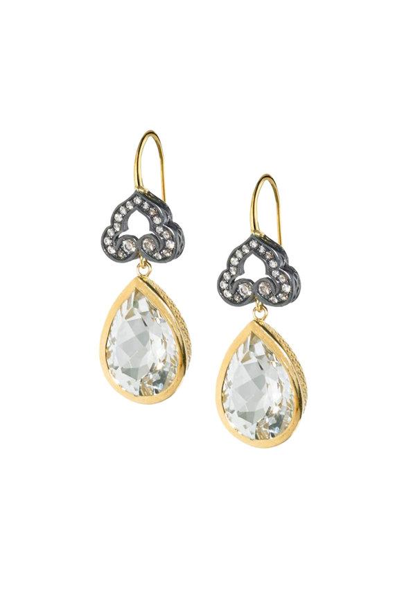 Ray Griffiths Silver & Gold Diamond & Topaz Drop Earrings