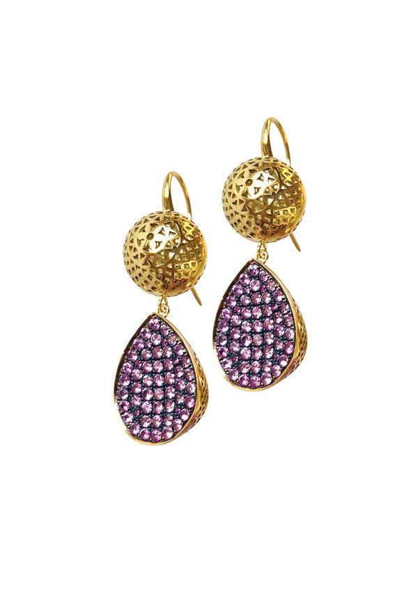 Ray Griffiths 18K Yellow Gold Pink Sapphire Drop Earrings
