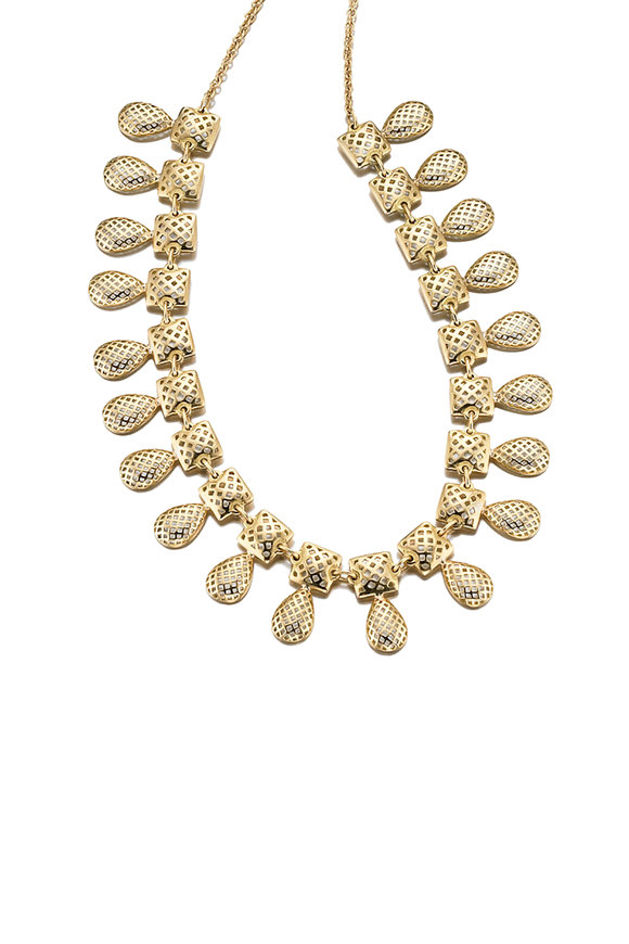 Ray Griffiths 18K Yellow Gold Roman Style Motif Necklace