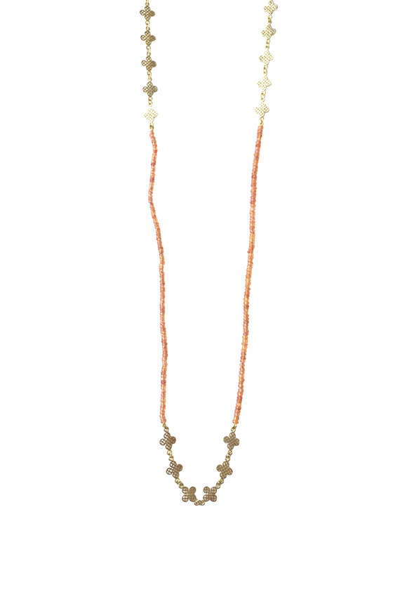 Ray Griffiths 18K Gold Orange Sapphire & Clover Wrap Necklace