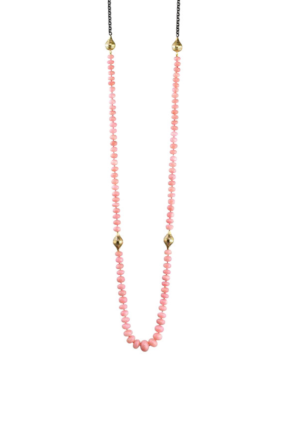 Ray Griffiths Sterling Silver Peruvian Pink Opal Bead Necklace
