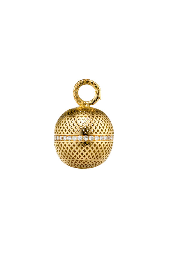 Ray Griffiths 18K Yellow Gold Diamond Crownwork Ball Pendant