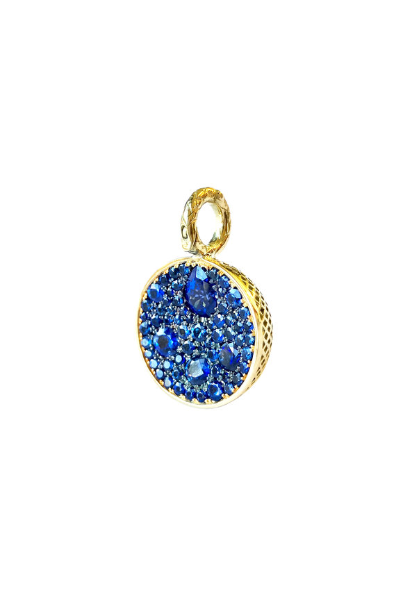 Ray Griffiths 18K Yellow Gold Blue Sapphire Ball Pendant