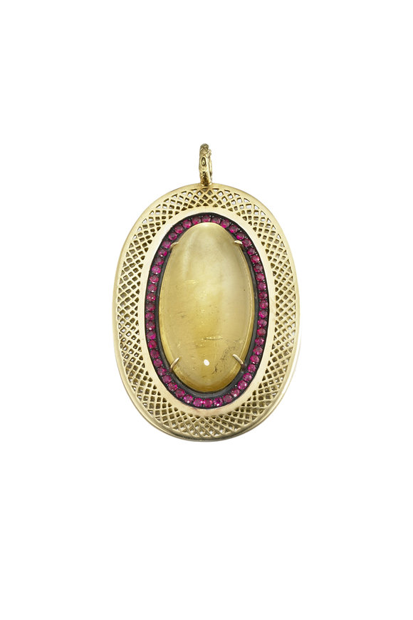 Ray Griffiths 18K Yellow Gold Beryl & Ruby Pendant