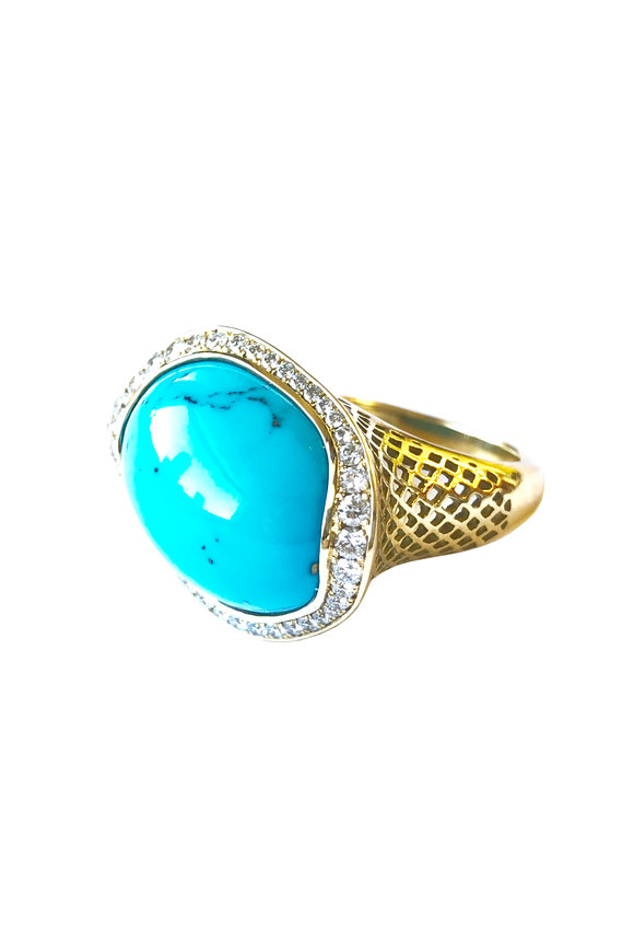 Ray Griffiths 18K Yellow Gold Turquoise Sleeping Beauty Ring