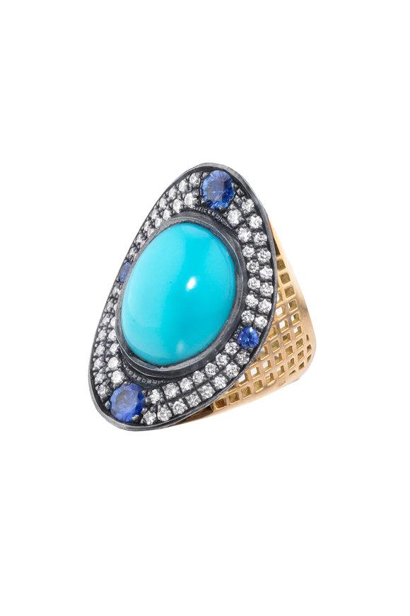 Ray Griffiths 18K Yellow Gold Sapphire & Diamond Regency Ring