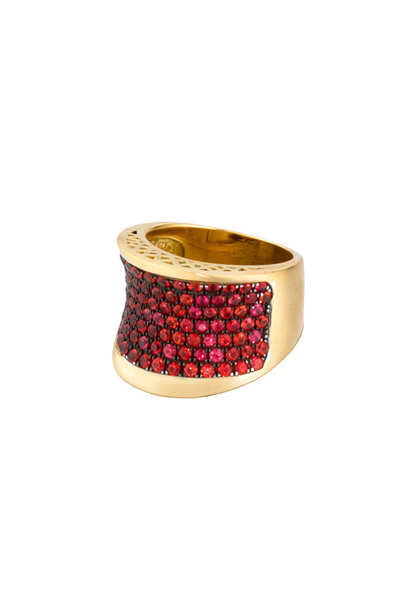 Ray Griffiths 18K Yellow Gold Orange Sapphire Deep Concave Ring