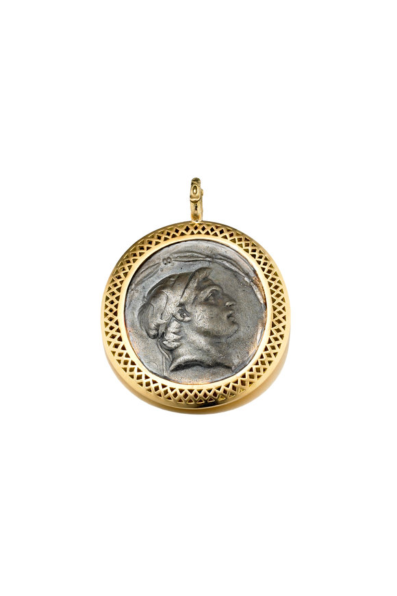 Ray Griffiths 18K Yellow Gold Syrian Vintage Coin Pendant