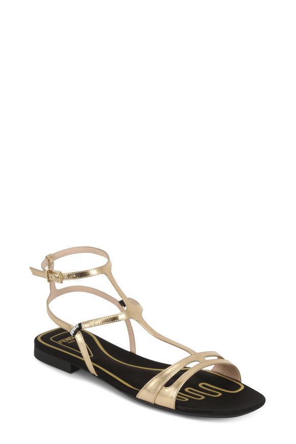 Fendi Gold Leather Satin Molded Footbed Sandal