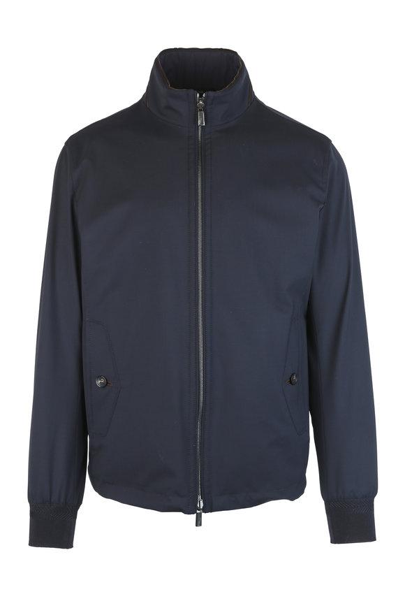 Ermenegildo Zegna Navy Blue Reversible Jacket