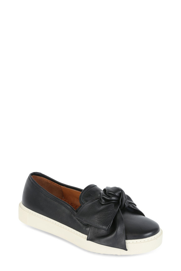 Chie Mihara Black Leather Bow Slip-On Sneakers