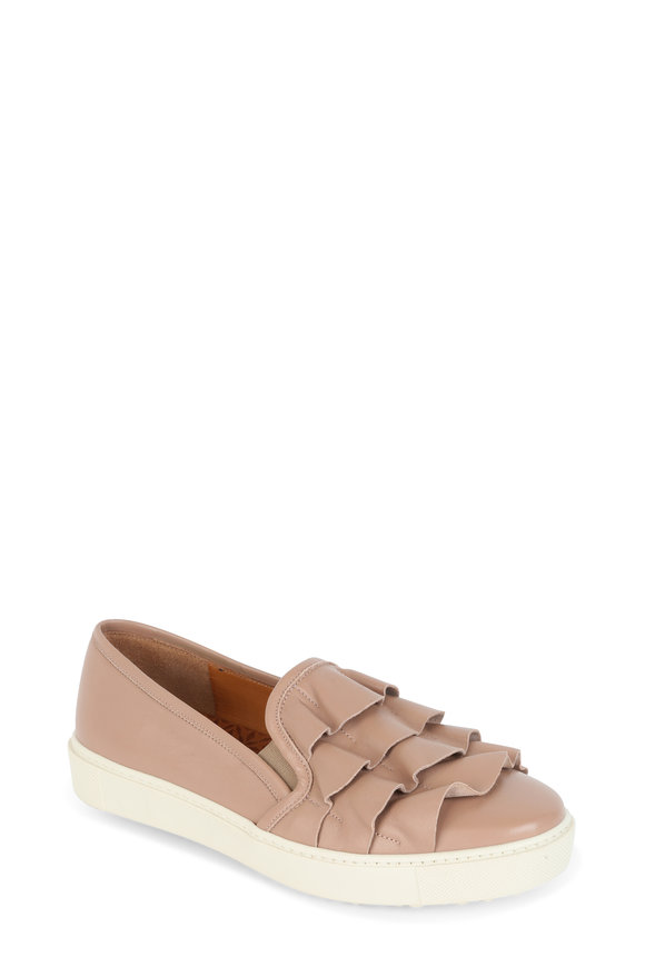 Chie Mihara Nude Leather Ruffle Slip-On Sneaker
